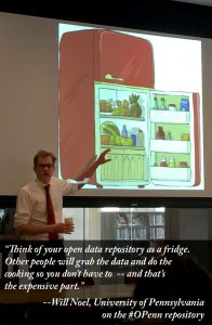 """Think of your open data repository as a fridge."" Will Noel, keynote speaker, at PACSCL January 22, 2016 conference on building digital collections."